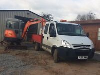 Builder, demolition, groundwork, landscaping, digger and operator hire, tree removal