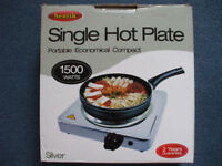 SINGLE HOTPLATE 1500watts PERFECT WORKING ORDER WITH BOX.