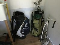 11 mixed clubs, 2 bags, 1 trolley