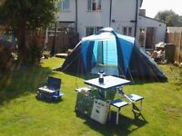 Hardly used Freedom Aztec tent, sleeps 4 persons with gas cooker, foldaway table and lamp