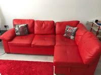 Leather sofabed with storage