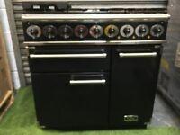 Lovely Falcon 900 Deluxe Range cooker Double oven Black and chrome Rangemaster