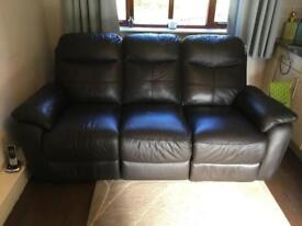 Leather 3 seater double recliner as new condition