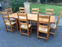 Large solid oak extending table and chair set . Delivery Possible