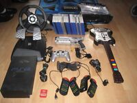 Sony Playstation 2 PS2 20 GAMES, GUITAR, BUZZ TOY, MEM CARD, PAD, WHEEL, MAT, GUN