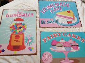 3 shabby chic metal signs wall art cupcake