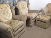 Sofa , 2 armchairs , footstool