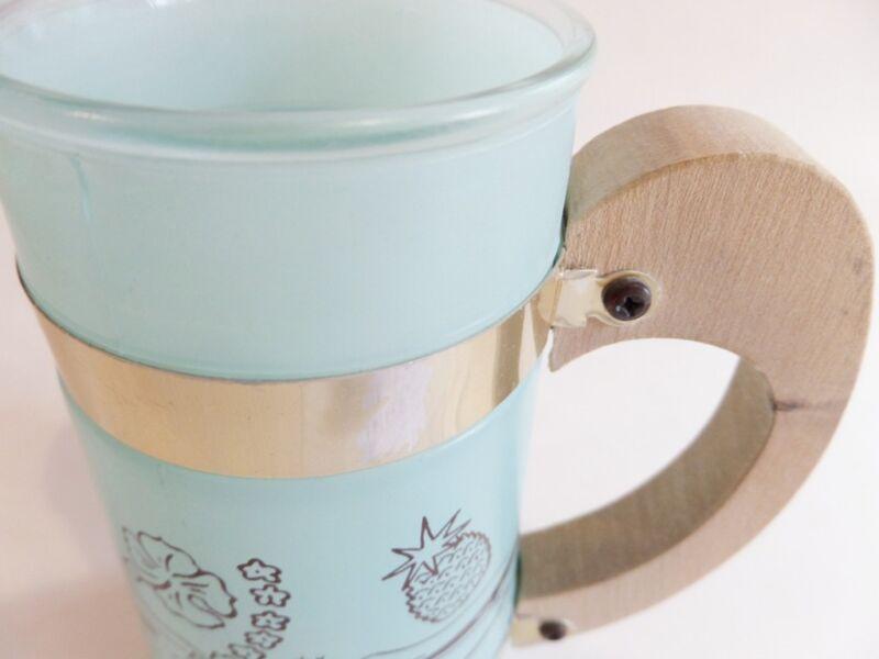 Siesta Ware Wooden Handle MugSet of 5Hawaiian ThemeFrosted Glass Mugs