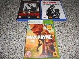 MAX PAYNE 1, 2 AND 3 - PLAYSTATION 2 AND XBOX 360 (LISTED TIL SOLD)
