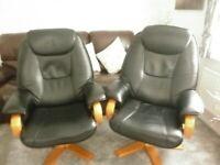 2 x Swivel/Recliner chairs c/w Footstools
