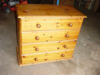 Small Pine Chest of Four Drawers - Can Deliver Locally.