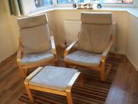 Ikea Chairs plus matching footstool
