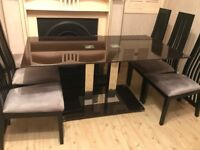 Large Quality Black Glass Chrome Dining Table with 6 Chairs