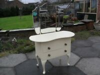 Shabby Chic Farmhouse Country Pine Dressing Table In Farrow & Ball Cream No 67