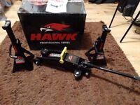 HAWK TOOLS 2 TON PRO DIY LIFTING TROLLEY JACK AND AXLE STAND GARAGE WORKSHOP SET