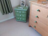 Upcycled painted pine 3 drawer bedside cabinet