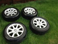 vw passat/caddy/golf/polo alloys 15in excellent tyres 5x112 fitment
