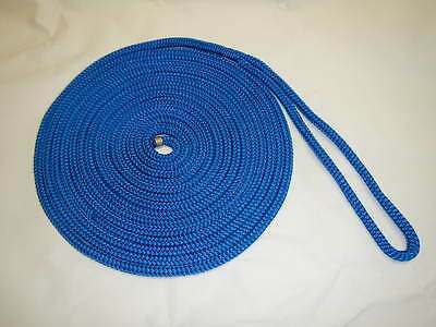 Double Braided Boat Marine Dock Line Rope 3 8  X 25 Blue Double Braid