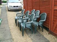 6 green patio chairs