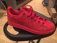 Adidas Originals Red Nubuck Leather Stan Smith