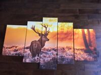 Winter Stag / Deer 5 piece canvas / Wall Art