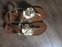Genuine leather gold sandals size 8, just worn once In excellent condition