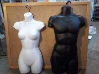 Male and female half busts, shopfittings