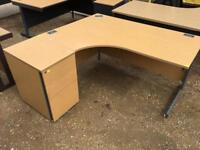 1600mm left hand office corner desk with two drawer units