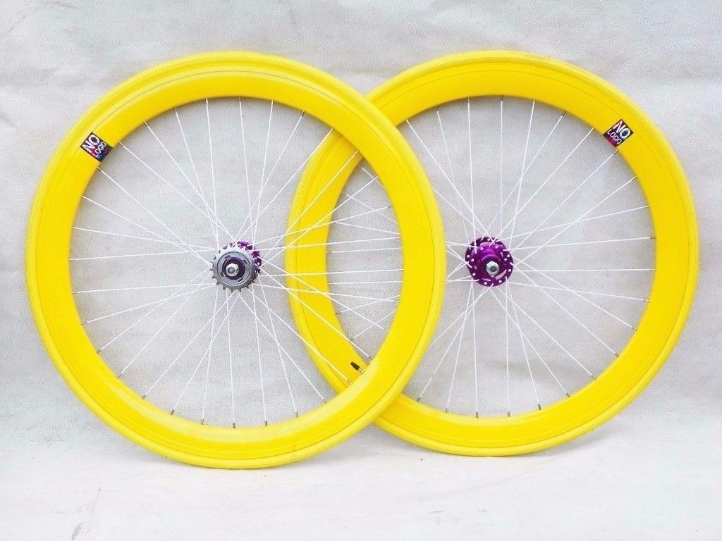 No Logo flip-flop hub 700c wheels in yellow