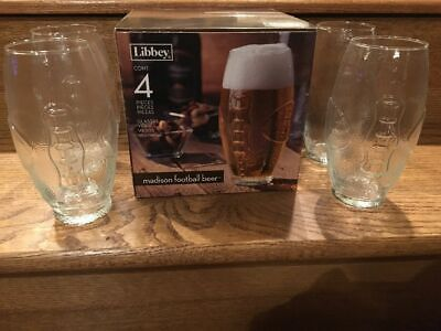 Madison Football Shaped Beer Glasses 4 Glasses 23 Ounces New in Box by (Madison Glasses)