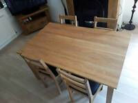 """Solid Oak Dining Table and Matching Oak Dining Chairs """"Excellent from """" The Cotswold Company """""""