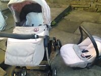 Silver cross pram with car seat rain covers foot muffs