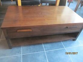 SOLID DARK OAK COFFEE TABLE WITH A LONG DRAWER, VGC