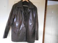 Men's Dark Brown Leather Jacket - Size Medium