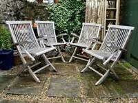 Weathered Teak Set of Garden Chairs