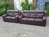 Very nice Brand New brown leather 3 and 2 seater sofas. can deliver