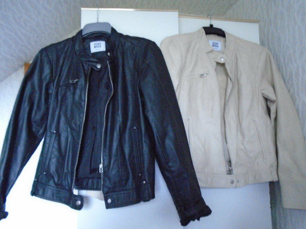 2 LADIES FAUX LEATHER JACKETS, 1 BLACK and 1 CREAM, BRAND NEW, CHRISTMAS PRESENTin Finaghy, BelfastGumtree - 2 LADIES FAUX LEATHER JACKETS, 1 BLACK and 1 CREAM, BRAND NEW, NEVER USED, SIZE XL (MEDIUM SIZE 14). ZIP UP FRONT, 2 SIDE POCKETS and 1 BREAST ZIP POCKET. £25 EACH or BOTH for £40. WOULD MAKE a GREAT CHRISTMAS PRESENT. FROM a SMOKE and PET FREE...