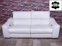 QUALITY EX DISPLAY 'ELIXIR' PREMIUM LEATHER POWER RECLINING SOFA IN SNEAKER WHITE SETTEE/SUITE