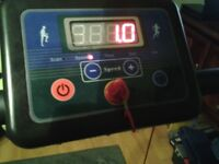 Electric Treadmill. Good condition. Exercise display. Folds for storage.