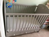 Ikea cot in light grey