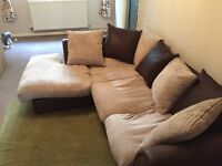 Corner Sofa - Brown/Beige - £30 - Collection Only