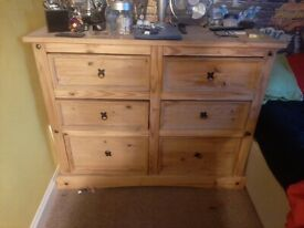 Solid pine wardrobe and draws