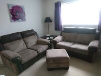 2 X 2 seater power recliner sofas and storage footstool
