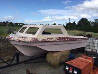 Sea hog hunter fishing boat with trailer