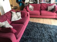 Two Large Comfy Red Sofas