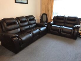 3 + 2 faux leather brown suite for sale