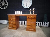 SOLID PINE FARMHOUSE DRESSING TABLE WITH DOUBLE SIDE DRAWERS PROPER CHUNKY ONE