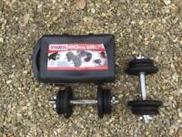 2 x York Fitness Cast Iron 20 kilo Dumbell set - 40 kilos total