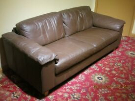 Brown leather 2 seat settee