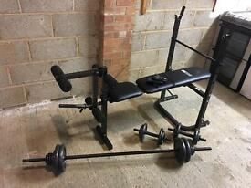Multi-Use Workout Bench and Weights